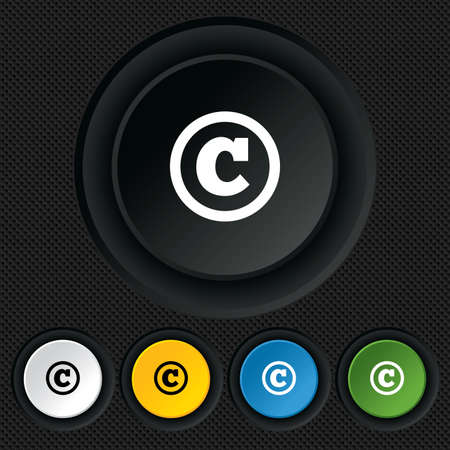 copyright symbol: Copyright sign icon. Copyright button. Round colourful buttons on black texture. Vector