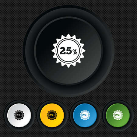 25 percent discount sign icon. Sale symbol. Special offer label. Round colourful buttons on black texture. Vector Vector