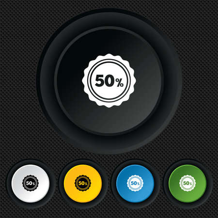 50 percent discount sign icon. Sale symbol. Special offer label. Round colourful buttons on black texture. Vector Vector