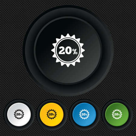20 percent discount sign icon. Sale symbol. Special offer label. Round colourful buttons on black texture. Vector Vector