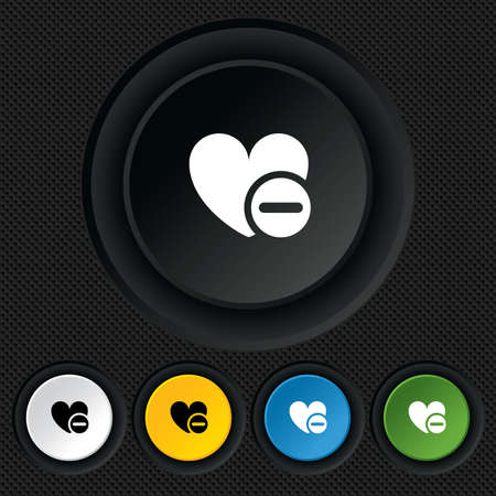 Heart sign icon. Remove lover symbol. Not love. Minus. Round colourful buttons on black texture. Vector Vector