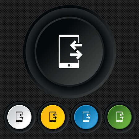 Incoming and outcoming calls sign icon. Smartphone symbol. Round colourful buttons on black texture. Vector Vector