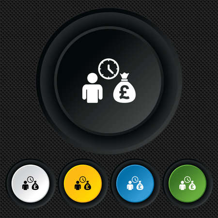 borrow: Bank loans sign icon. Get money fast symbol. Borrow money. Round colourful buttons on black texture. Vector Illustration