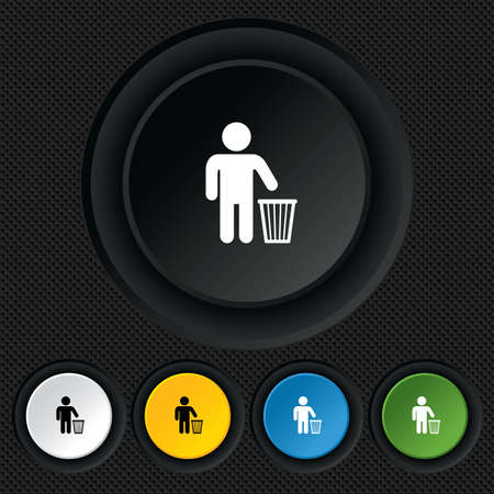 After use to throw in trash. Recycle bin sign. Round colourful buttons on black texture. Vector Stock Vector - 26125106