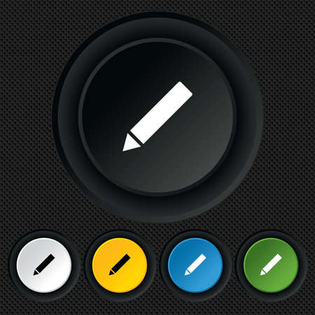 Pencil sign icon. Edit content button. Round colourful buttons on black texture. Vector