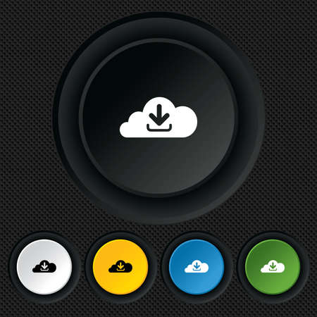 Download from cloud icon. Upload button. Load symbol. Round colourful buttons on black texture. Vector Vector