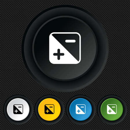 luminance: Exposure photo camera sign icon. Quantity of light settings. Round colourful buttons on black texture. Vector