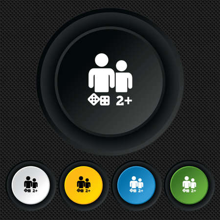Board games sign icon. Two plus players symbol. Dice sign. Round colourful buttons on black texture. Vector Vector