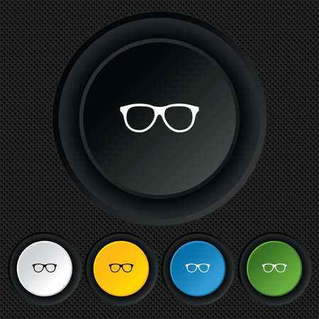 Retro glasses sign icon. Eyeglass frame symbol. Round colourful buttons on black texture. Vector Vector