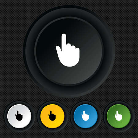 Hand cursor sign icon. Hand pointer symbol. Round colourful buttons on black texture. Vector Vector