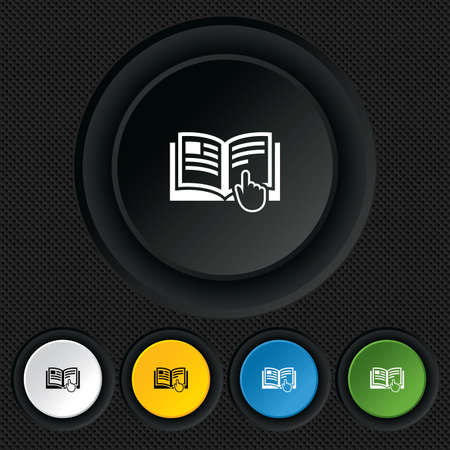 Instruction sign icon. Manual book symbol. Read before use. Round colourful buttons on black texture. Vector Stock Vector - 26126241