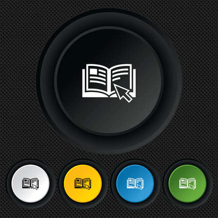 Instruction sign icon. Manual book symbol. Read before use. Round colourful buttons on black texture. Vector Stock Vector - 26126242