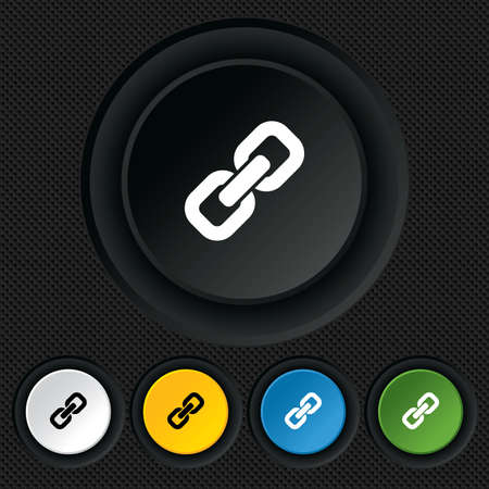 Link sign icon. Hyperlink chain symbol. Round colourful buttons on black texture. Vector Vector