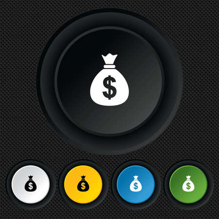 usd: Money bag sign icon. Dollar USD currency symbol. Round colourful buttons on black texture. Vector Illustration