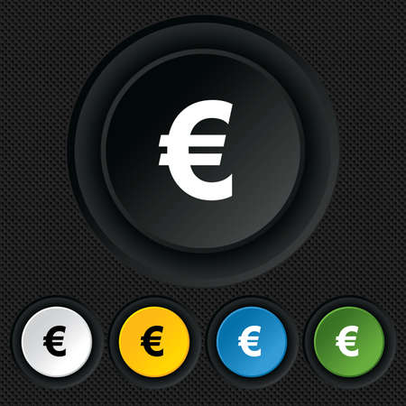 Euro sign icon. EUR currency symbol. Money label. Round colourful buttons on black texture. Vector Vector