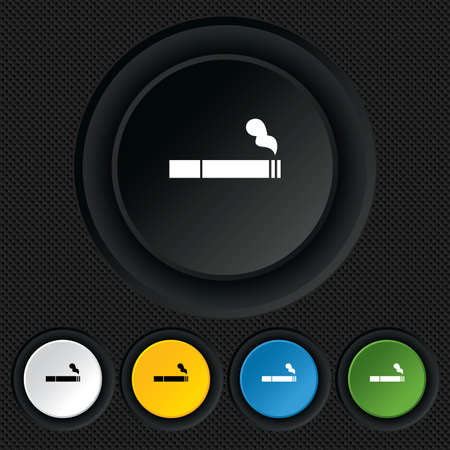 Smoking sign icon. Cigarette symbol. Round colourful buttons on black texture. Vector Vector