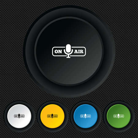 on air sign: On air sign icon. Live stream symbol. Microphone symbol. Round colourful buttons on black texture. Vector