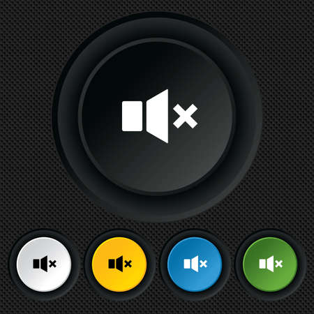 Mute speaker sign icon. Sound symbol. Round colourful buttons on black texture. Vector Vector