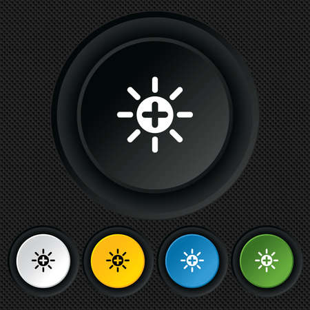 Sun plus sign icon. Heat symbol. Brightness button. Round colourful buttons on black texture. Vector Stock Vector - 26126396