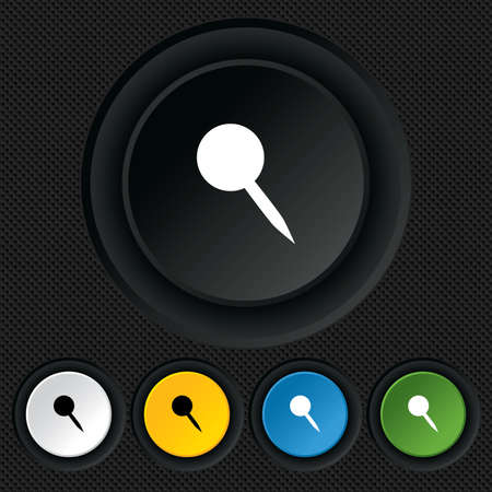 Pushpin sign icon. Pin button. Round colourful buttons on black texture. Vector