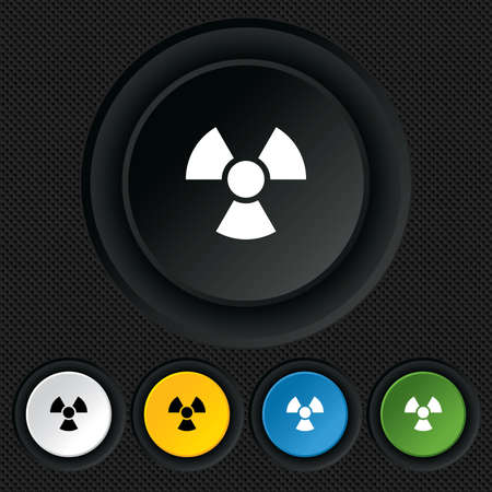Radiation sign icon. Danger symbol. Round colourful buttons on black texture. Vector Vector