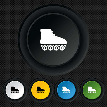 rollerblades: Roller skates sign icon. Rollerblades symbol. Round colourful buttons on black texture. Vector Illustration