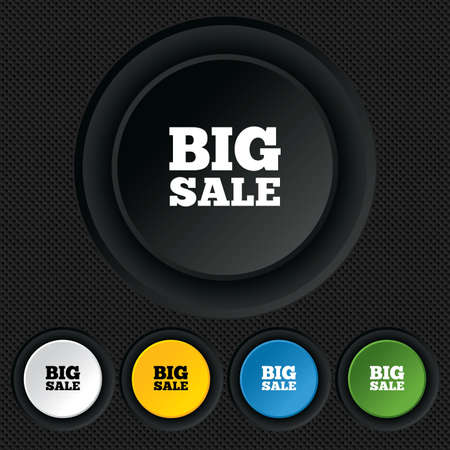 Big sale sign icon. Special offer symbol. Round colourful buttons on black texture. Vector Vector