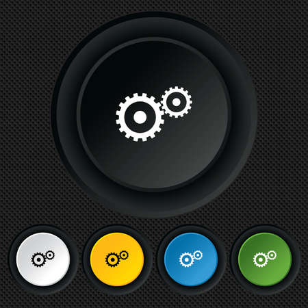 Cog settings sign icon. Cogwheel gear mechanism symbol. Round colourful buttons on black texture. Vector Vector