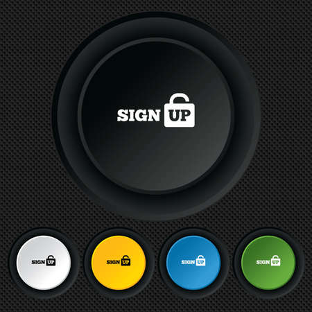 lock up: Sign up sign icon. Registration symbol. Lock icon. Round colourful buttons on black texture. Vector
