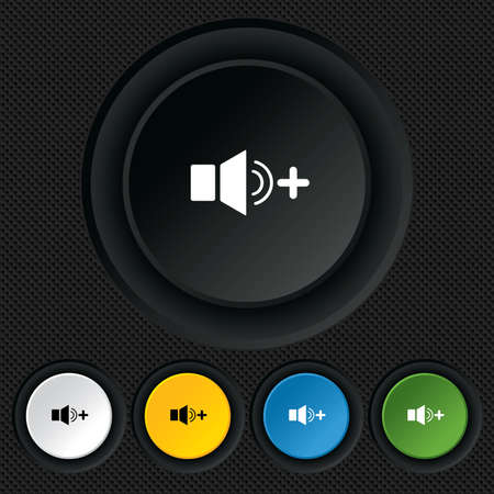 louder: Speaker volume louder sign icon. Sound symbol. Round colourful buttons on black texture. Vector