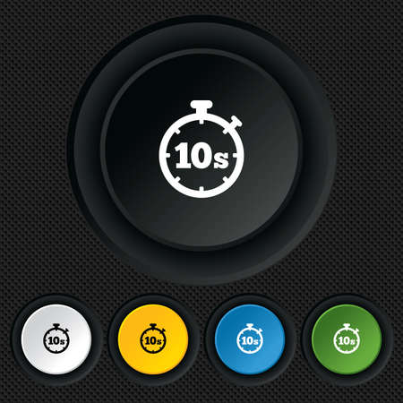 seconds: Timer 10 seconds sign icon. Stopwatch symbol. Round colourful buttons on black texture. Vector