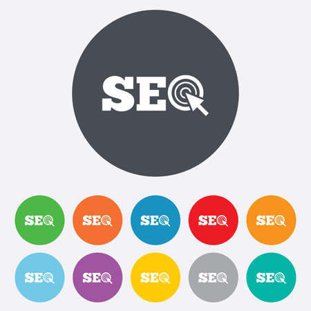 SEO sign icon. Search Engine Optimization symbol. Round colourful 11 buttons. photo