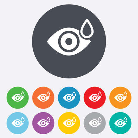 Eye with water drop sign icon. Drip into the eyes symbol. Round colourful 11 buttons. photo