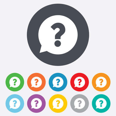 navigation mark: Question mark sign icon. Help speech bubble symbol. FAQ sign. Round colourful 11 buttons.