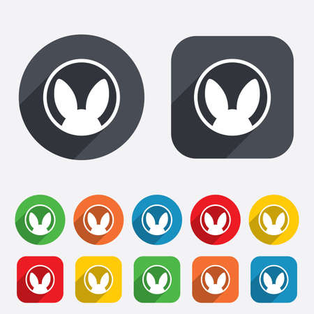 No animals testing sign icon. Not tested symbol. Circles and rounded squares 12 buttons. Vector Vector