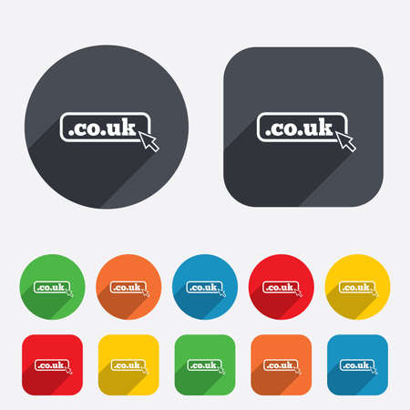 subdomain: Domain CO.UK sign icon. UK internet subdomain symbol with cursor pointer. Circles and rounded squares 12 buttons. Vector