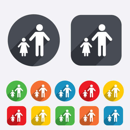 one parent: One-parent family with one child sign icon. Father with daugther symbol. Circles and rounded squares 12 buttons. Vector