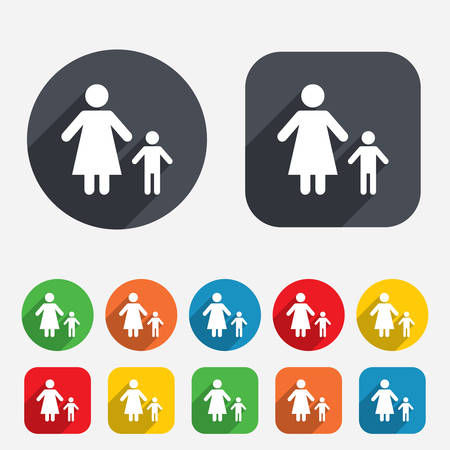 one parent: One-parent family with one child sign icon. Mother with son symbol. Circles and rounded squares 12 buttons. Vector