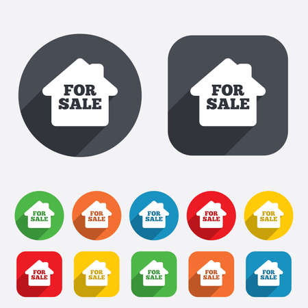 For sale sign icon. Real estate selling. Circles and rounded squares 12 buttons. Vector Vector