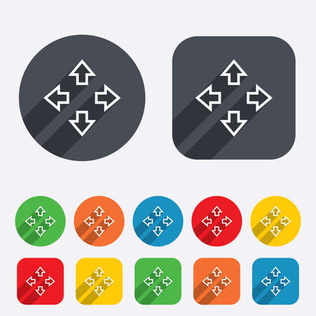 Fullscreen sign icon. Arrows symbol. Icon for App. Circles and rounded squares 12 buttons. Vector Vector