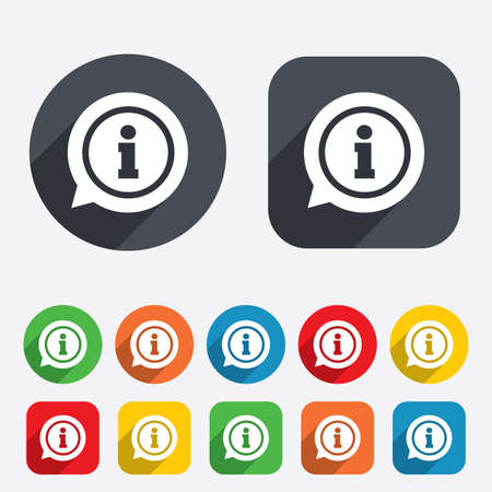 inform information: Information sign icon. Info speech bubble symbol. Circles and rounded squares 12 buttons. Vector