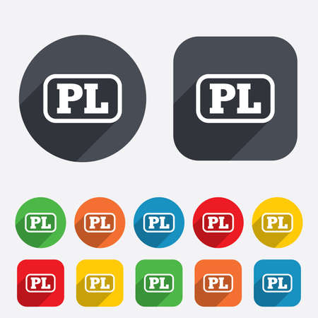 pl: Polish language sign icon. PL translation symbol with frame. Circles and rounded squares 12 buttons. Vector