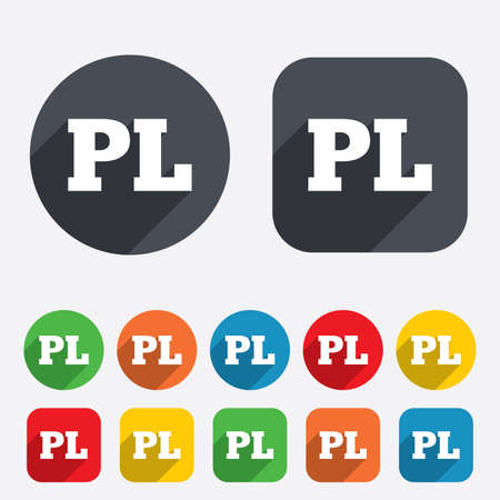 pl: Polish language sign icon. PL translation symbol. Circles and rounded squares 12 buttons. Vector Illustration