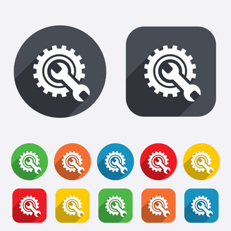 Repair tool sign icon. Service symbol. Hammer with wrench. Circles and rounded squares 12 buttons. Vector
