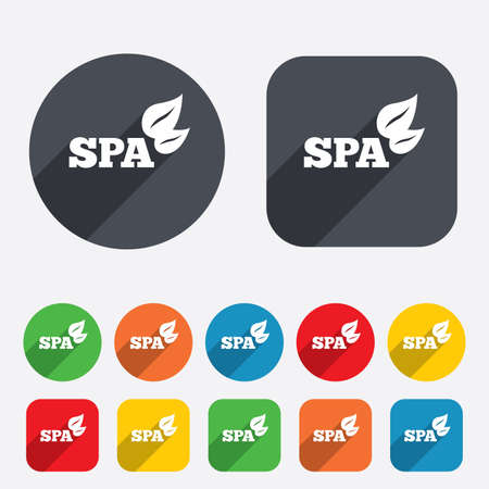 Spa sign icon. Spa leaves symbol. Circles and rounded squares 12 buttons. Vector Vector
