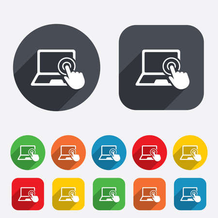 Touch screen laptop sign icon. Hand pointer symbol. Circles and rounded squares 12 buttons. Vector Illustration