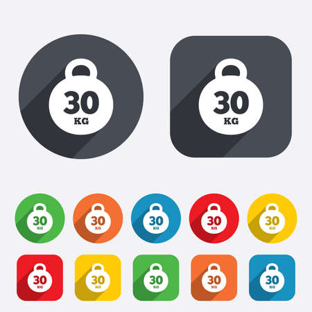 kilogram: Weight sign icon. 30 kilogram (kg). Sport symbol. Fitness. Circles and rounded squares 12 buttons. Vector