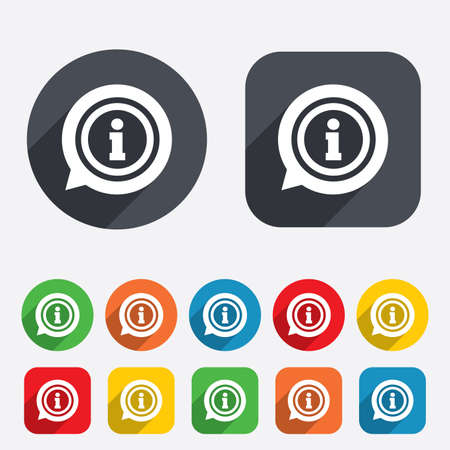 help: Information sign icon. Info speech bubble symbol. Circles and rounded squares 12 buttons. Vector