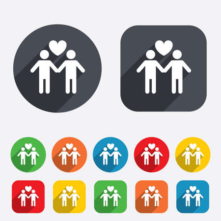 Couple sign icon. Male love male. Gays with heart. Circles and rounded squares 12 buttons. Vector Vector
