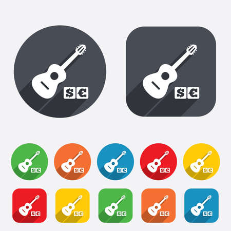 Acoustic guitar sign icon. Paid music symbol. Circles and rounded squares 12 buttons. Stock Photo